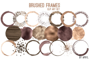 Brown Gold Brushed Round Frames Paint Glitter Watercolor 20 PNG Clip Art 8in S7
