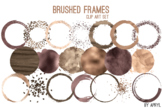 Brown Gold Brushed Round Frames Paint Glitter Watercolor 2