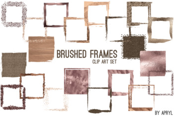 Brown Gold Brushed Square Frames Paint Glitter Watercolor 20 PNG Clip Art 8in S7