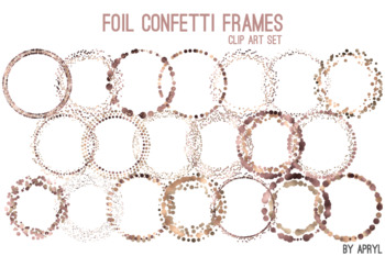 Brown Gold Confetti Round Frames 20 PNG Clip Art 8in Foil Metallic S7
