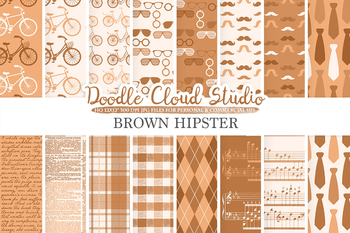 Brown Hipster digital paper, Vintage Retro patterns, Father's day