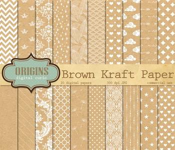Brown Kraft Digital Paper Textures