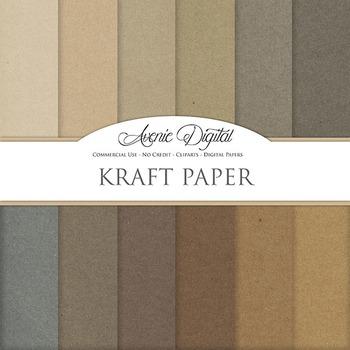 Brown Kraft Paper Background Textures Digital Paper scrapbook back to school