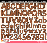 Brown Letters and Numbers Clip Art