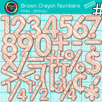 Brown Math Numbers Clip Art {Great for Classroom Decor & Resources}