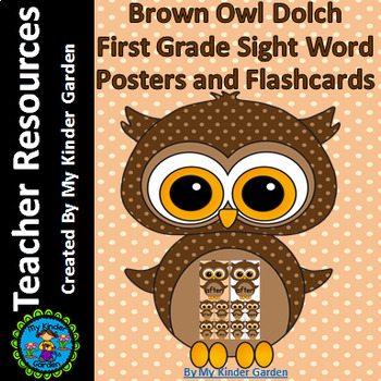 Brown Owl  Dolch First Grade Sight Word Flashcards and Posters