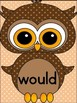 Brown Owl  Dolch 2nd Grade High Frequency Sight Word Flashcards & Posters