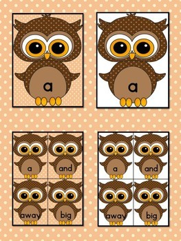 Brown Owl  Dolch Pre-Primer High Frequency Sight Word Flashcards and Posters