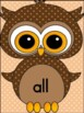 Brown Owl  Dolch Primer Sight Word Flashcards and Posters