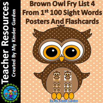 Brown Owl Fry List 4 From 1st 100  Sight Word Flashcards a
