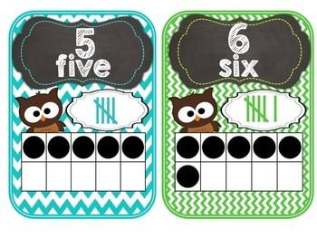 Brown Owl Number Posters 1-20 Chevron Theme Blue, Brown, Aqua, Green