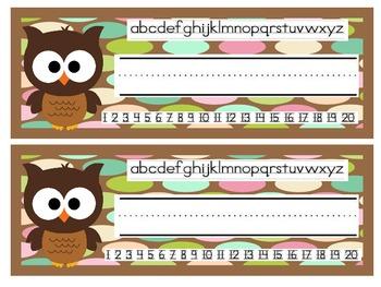 Brown Owls Desk Nameplates for All Grades