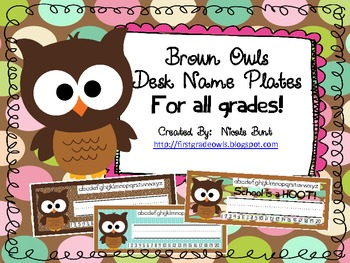 Brown Owls Desk Nameplates for All Grades
