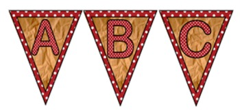 Brown Paper and Polka Dot Capital Letters - Pennants