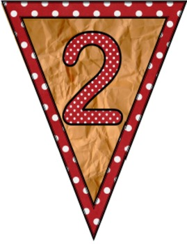 Brown Paper and Polka Dot Number Pennants