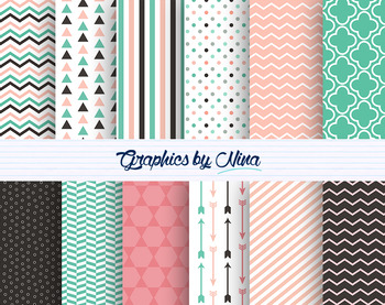 Brown, Pink and Mint Digital Papers
