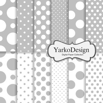 Grey Polka Dot Digital Scrapbooking Paper Set, 12 Digital Paper Sheets