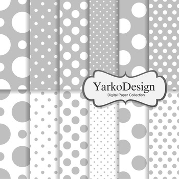 Grey Polka Dot Digital Scrapbooking Paper Set, 12 Digital