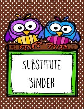 Brown Polka Dot Substitute Teacher Binder