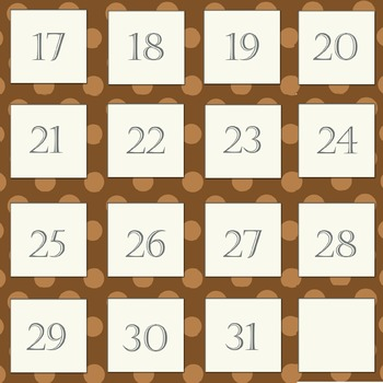 Brown Polka dot Calender numbers