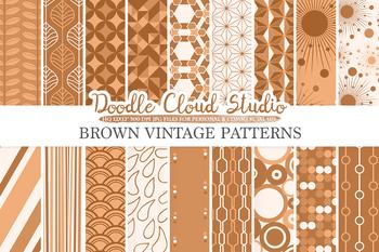 Brown Retro digital paper, Geometric Vintage patterns, Coffee digital