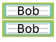 Brown, Teal & Green Name Tags Desk Plates - Editable