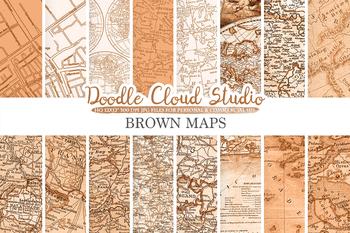 Brown Vintage Maps digital paper, Old Maps, Modern Maps, Historical Maps