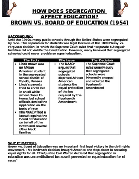 Brown Vs. Board of Education How Does Segreation Affect Education?