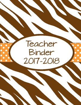 Brown Zebra and Coral Polka Dot Teacher Binder 2017-2018