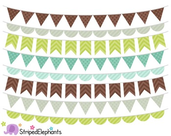 Brown and Green Bunting Clip Art