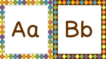 Brown and Multi-Color Print Alphabet
