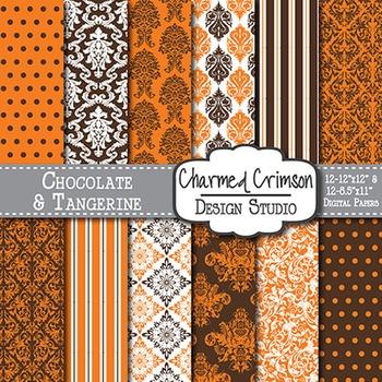 Brown and Orange Damask Digital Paper 1391