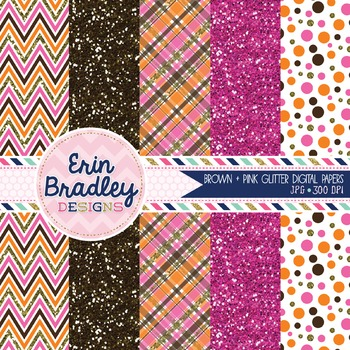 Brown and Pink Glitter Digital Paper Pack