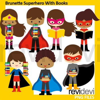 Brown hair superhero clip art - Brunette Superhero with books clipart