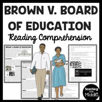 Brown v. Board of Education Reading Comprehension Worksheet, Civil Rights