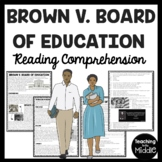 Brown v. Board of Education Reading Comprehension Worksheet, Civil Rights