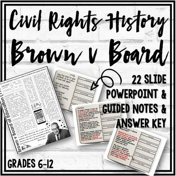 Brown v Board of Education Guided Notes Worksheet & Answer Key
