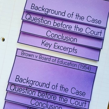 Brown v Board of Education PowerPoint and Interactive Notes Pages