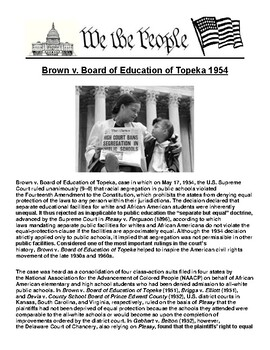 Brown v. Board of Education of Topeka 1954 Article & Assignment