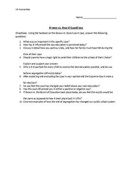 Brown vs. Board Opinion Worksheet