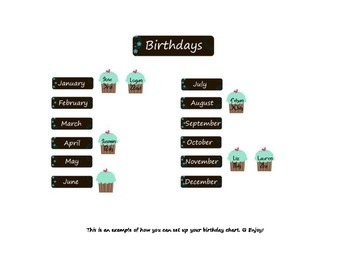 Brown with Blue Flowers Birthday Chart