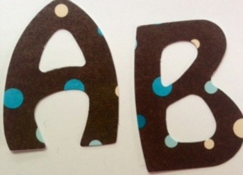 "Brown with polka dots 2"" die cut laminated alphabet"