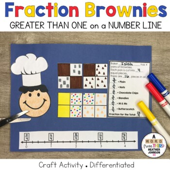 Brownie Fractions Craftivity: Fractions Greater Than One on the Number Line