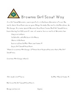 Brownie Girl Scout Badge Reflection Pages