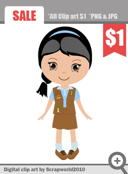 Brownie Girl Scout clip art graphics