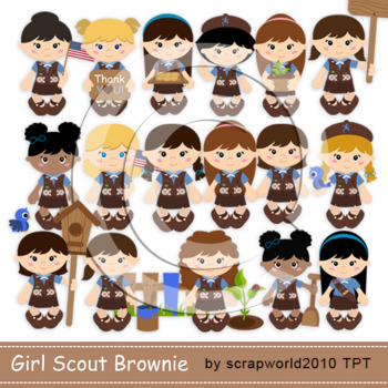 Brownie Girl scout pack clipart & digital paper 24 files NEW!