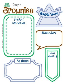 Brownie Meeting Activity Planner Girl Scouts Editable Printable PDF Template