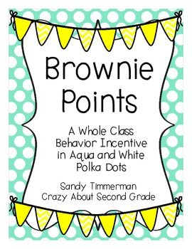 Brownie Points-A Whole Class Behavior Incentive in Aqua and White Polka Dots