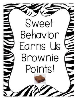 Brownie Points-A Whole Class Behavior Incentive in Black Zebra Print