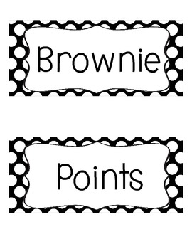Brownie Points-A Whole Class Behavior Incentive in Black and White Polka Dots